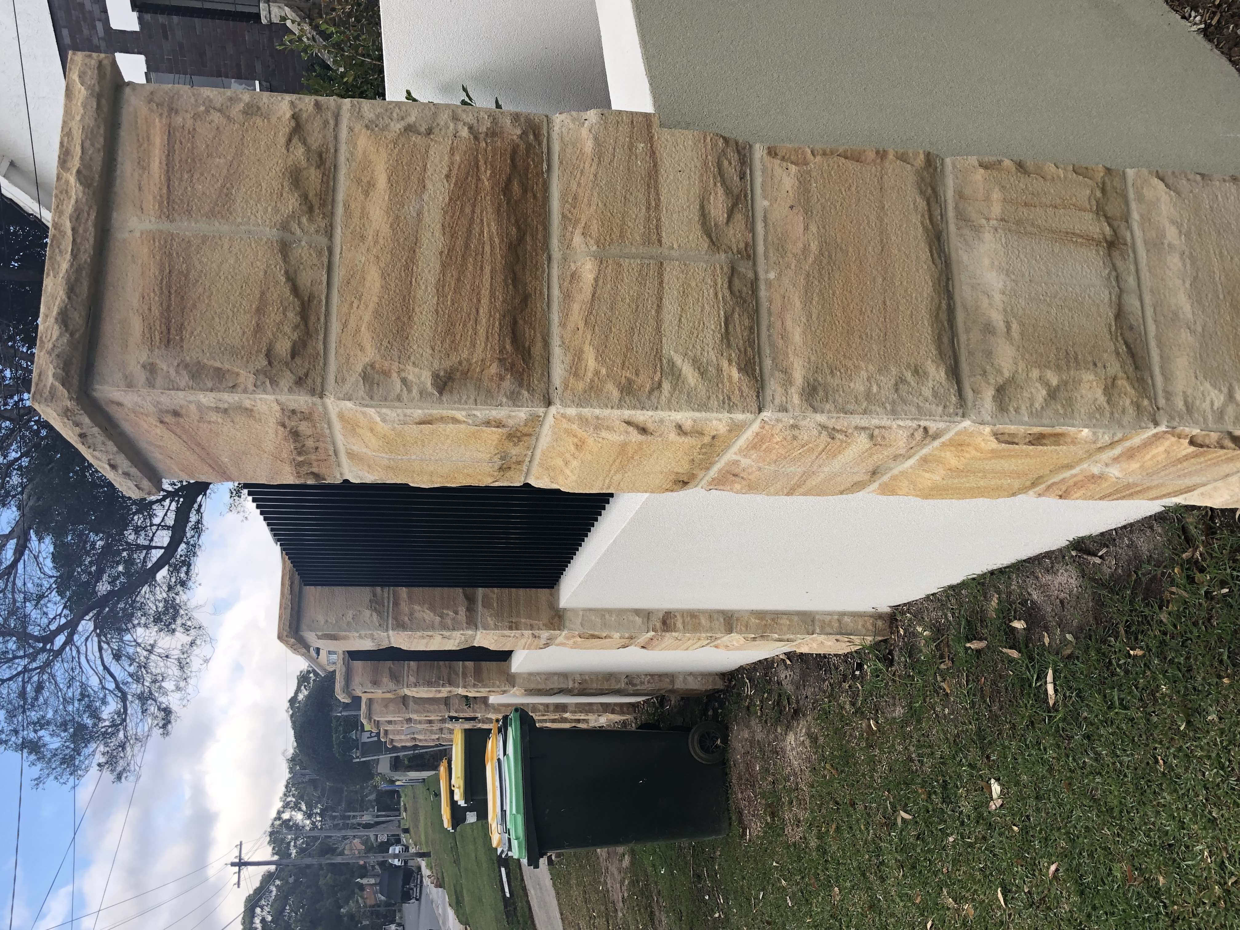 Stone pillar made from Rock face sandstone and capping sandstone