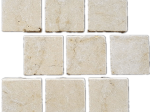 Marble cobblestone paver with mesh back