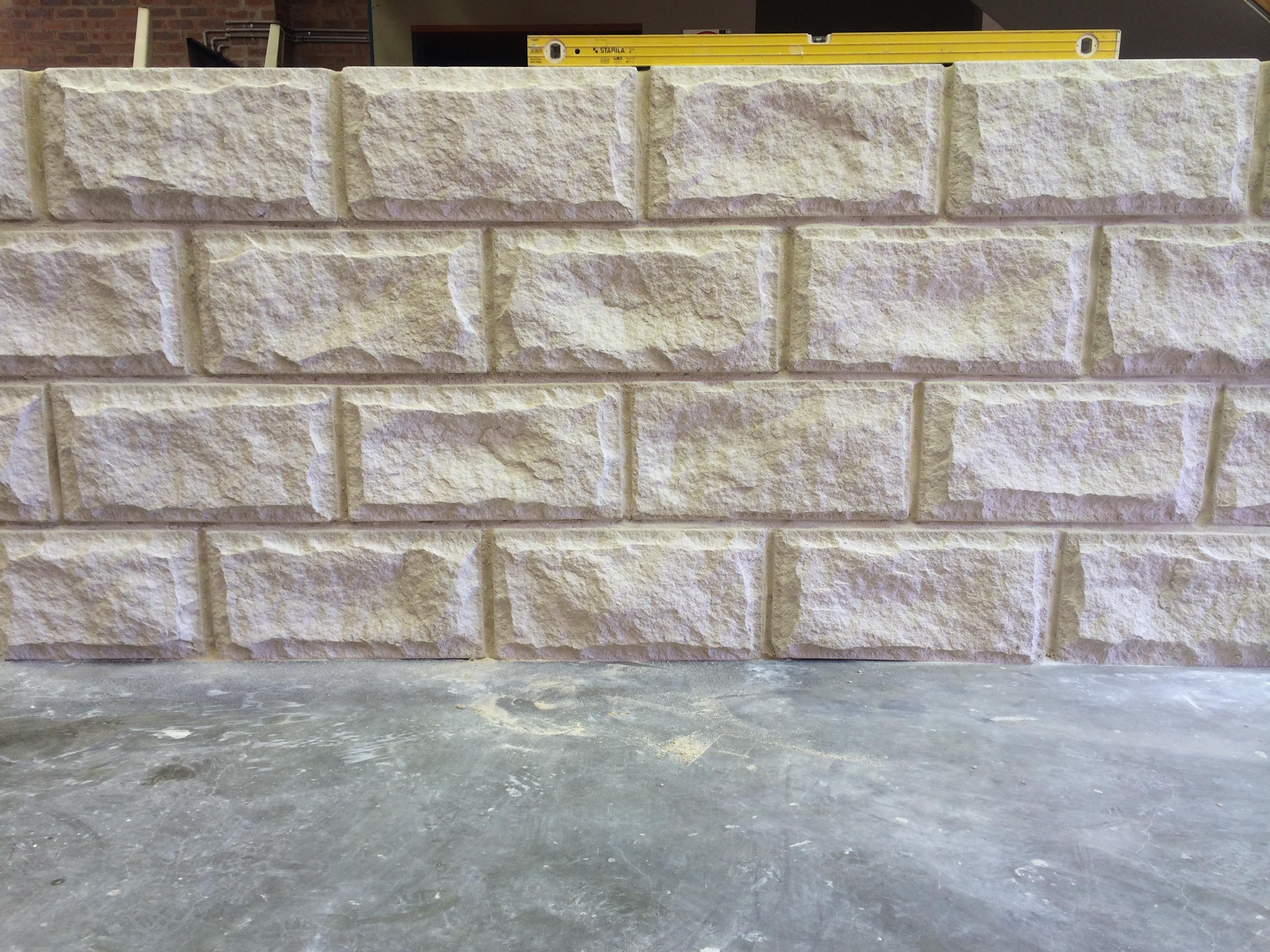 Stone wall using Rockface white sandstone cladding, stack stone