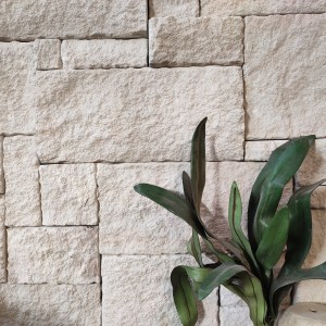 White sandstone wall cladding displayed in Aussietecture stone supplier's Alexandria showroom
