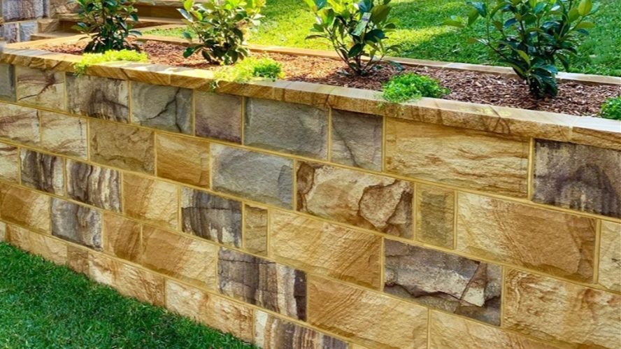 garden project using Aussietecture ranch rock faced wall cladding stone and capping stone