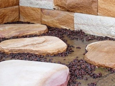 sandstone stepping stone in a garden pathway project