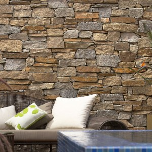 Irregular natural stone wall claddings franklin gold in a home feature wall application