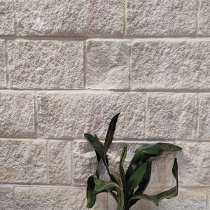 White sandstone used as wall cladding veneers in an interior wall application