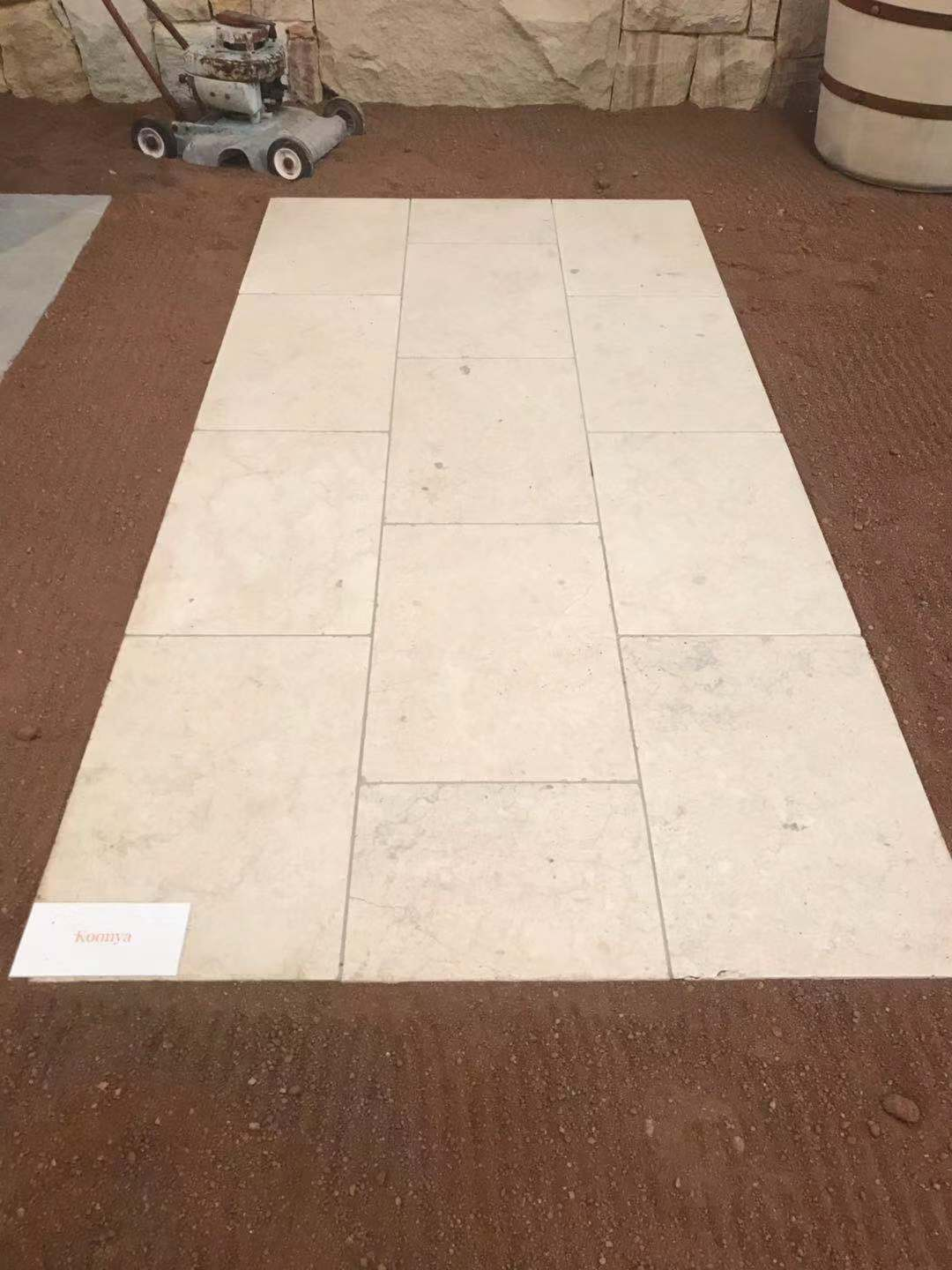 Koonya marble natural stone paving tiles and pavers displayed in Aussietecture stone supplier's Sydney showroom