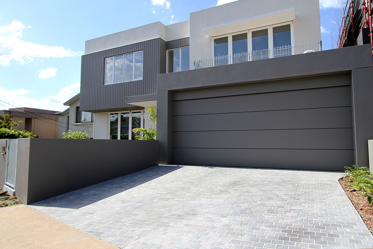Residential garage drive way using bindoon limestone cobblestone paving