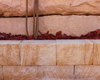 Garden egding project with australian sandstone