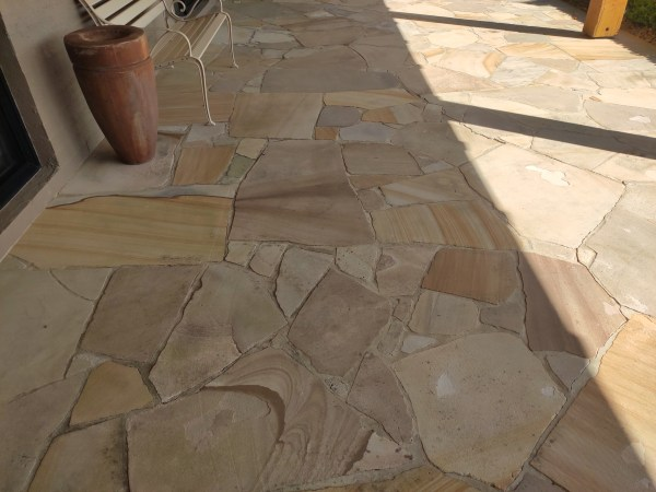 Aussietecture sandstone crazy paving seen in a house floor application
