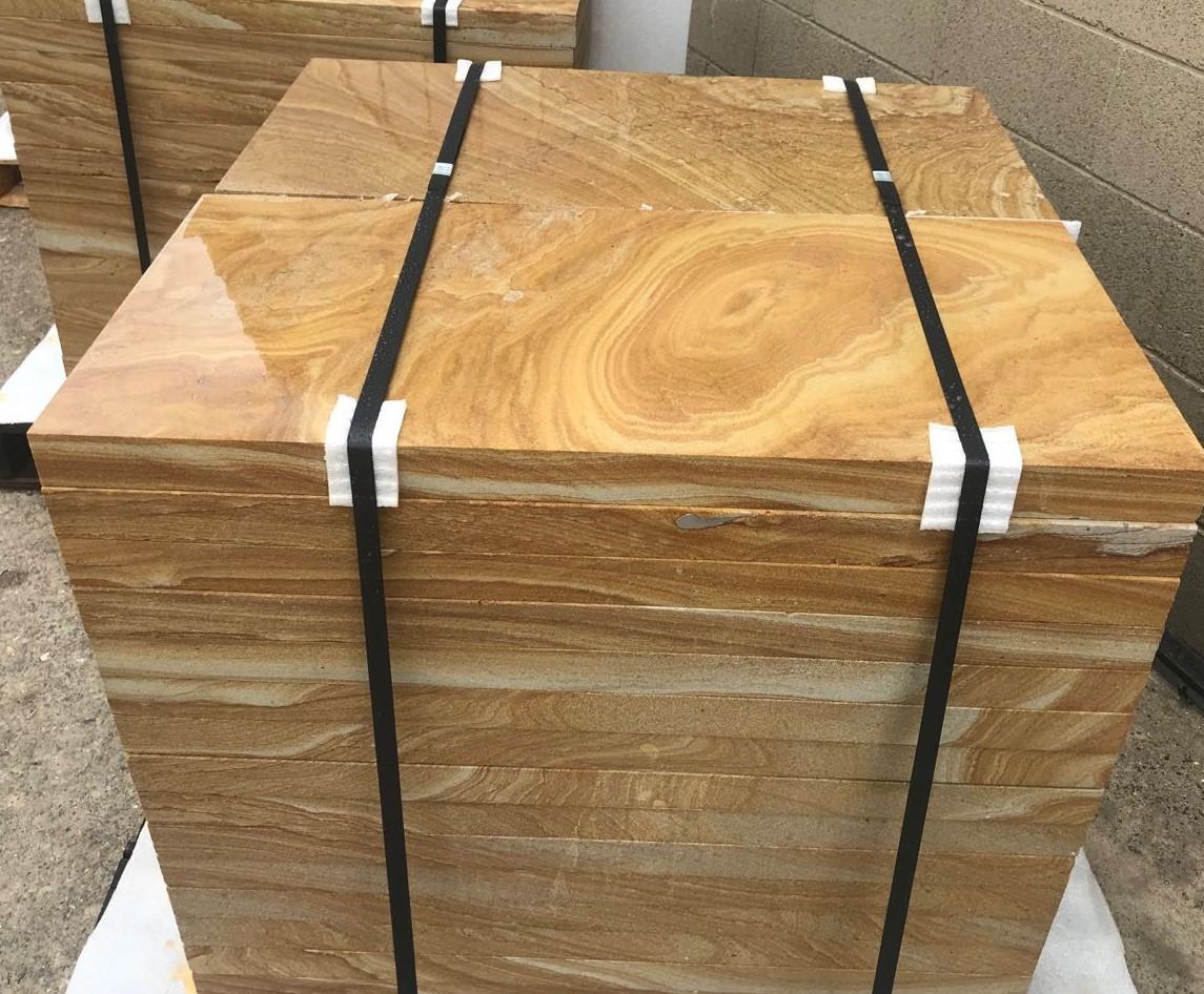 Banded brown sandstone pavers