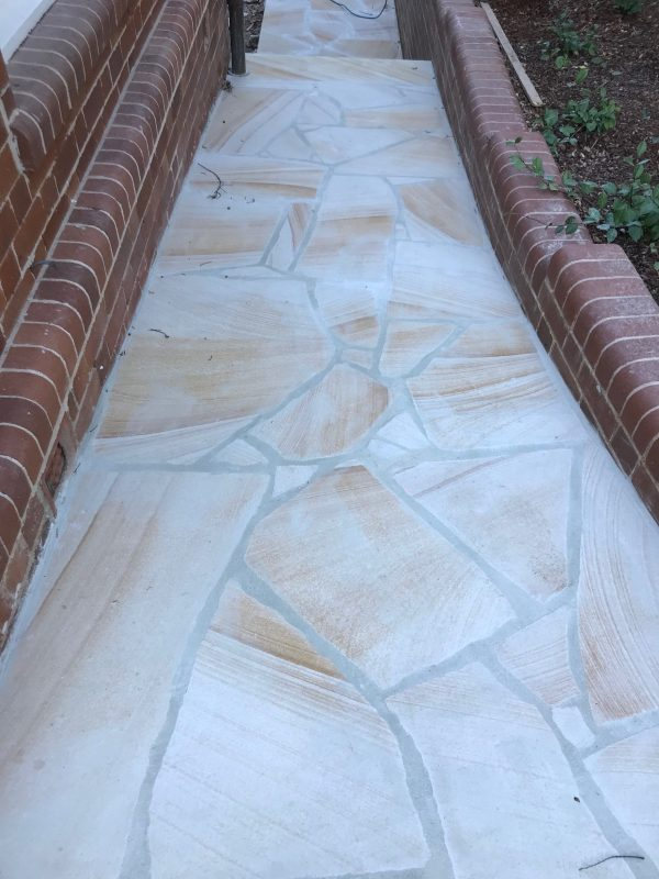 Banded Sandstone Crazy paving used in house pass way