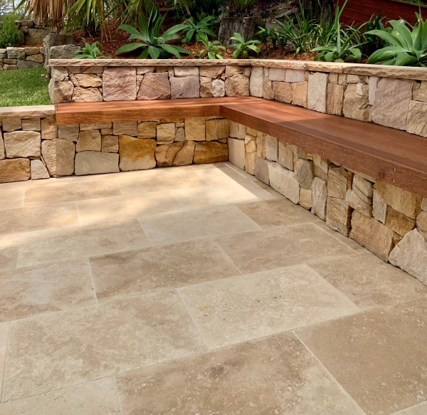 Irregular Ranch walling Stone, Capping sandstone and Travertine paver in an landscaping project