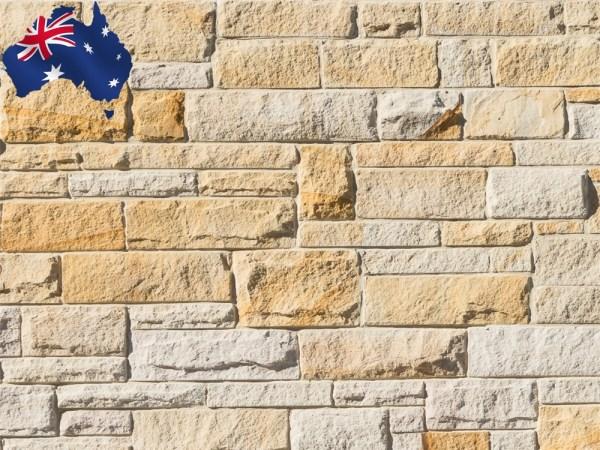Random square set Australian sandstone cladding