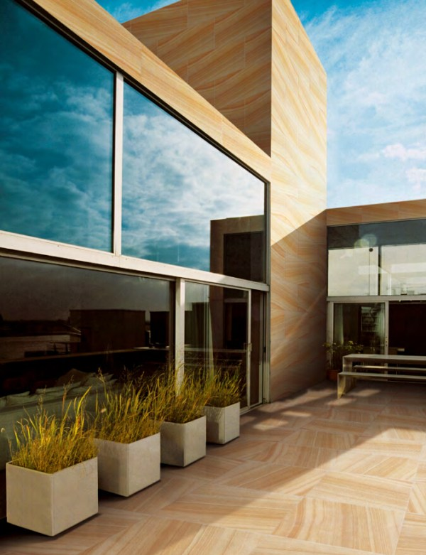 Urban series porcelain sandstone in a residential project