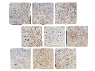 Classic Travertine Tumbled Cobblestone Paver - Natural Stone cobbles