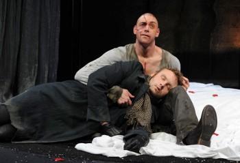 Andrew Henry as Dr Frankenstein and Lee Jones as The Creature in FRANKENSTEIN. Image by Heidrun Lohr