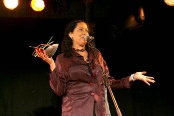 Rachael Maza accepting Sidney Myer Performing Arts Award on behalf of Ilbijerri