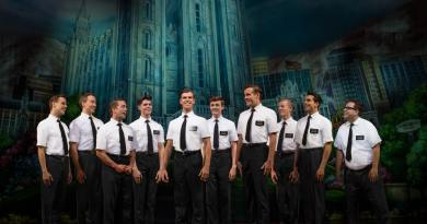 Blake Bowden, Nyk Bielak and ensemble in THE BOOK OF MORMON (c) Jeff Busby
