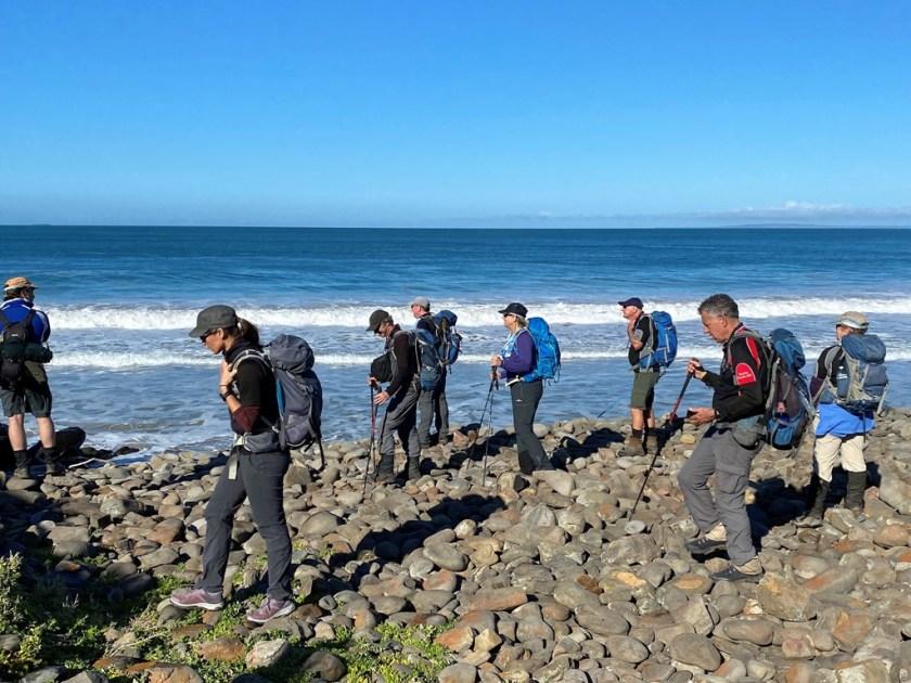 Walking on rocky side of the beach