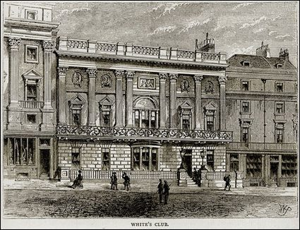 White's Club. Illustration from Old and New London by Edward Walford (Cassell, c 1880).