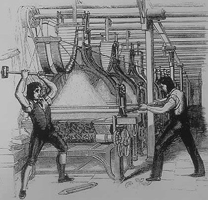 An 1844 rendition of frame breakers from 1812 that appeared in the Penny magazine. The loom depicted is actually post-1820s.