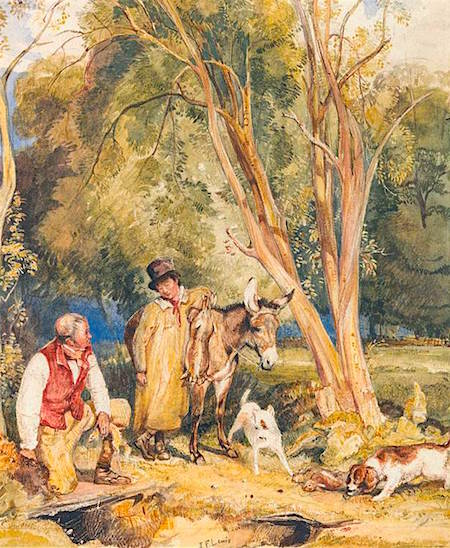 John Frederick Lewis - Game Keeper and Boy Ferreting a Rabbit 1828