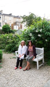 Jane and Cassandra enjoying the Garden!