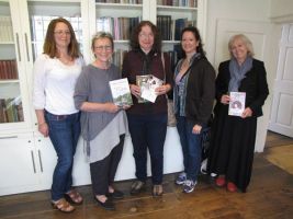 In the library at Jane Austen's house, with our books. Leslie Diamond, Susan Mason Milks, Abigail Reynolds, Maria Grace, Jane Odiwe