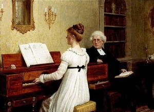 The Piano Lesson by Edmund Blair Leighton