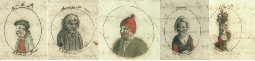 Illustrations from left to right: Edward IV, Henry VII, Henry VIII, Mary I and Elizabeth I