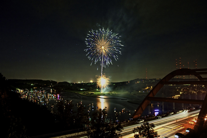 pennybacker loop 360 bridge overlook bluff cliff viewpoint lookout fireworks highway bridge new year