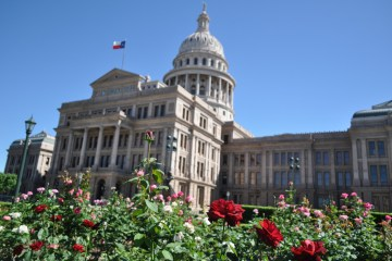 austin capitol capital texas building legislature government roses grounds spring flowers