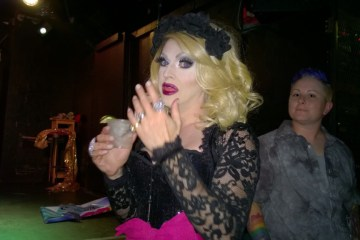 Pandora Boxx of RuPaul's Drag Race fame celebrates her birthday with a drink at the Austin International Drag Festival Saturday, May 2, 2015.