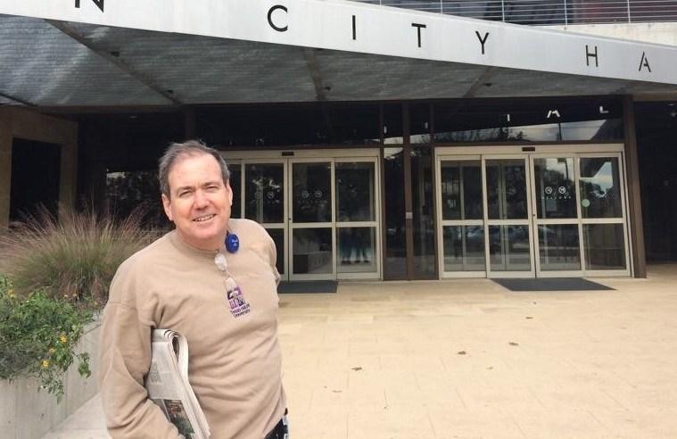 Councilman Don Zimmerman outside Austin City Hall. Photo: Don Zimmerman on Facebook.