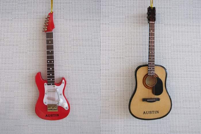 Austin guitar ornaments by Broadway Gifts Company. Photo: Austin Gift Shop Online Store electric acoustic music play musician