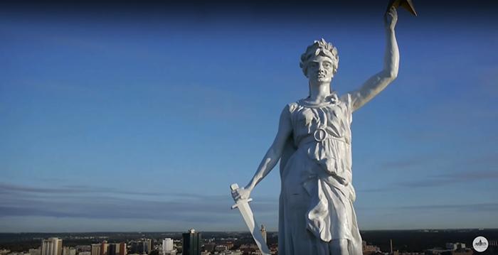 goddess of liberty statue zinc replica sword woman lady star