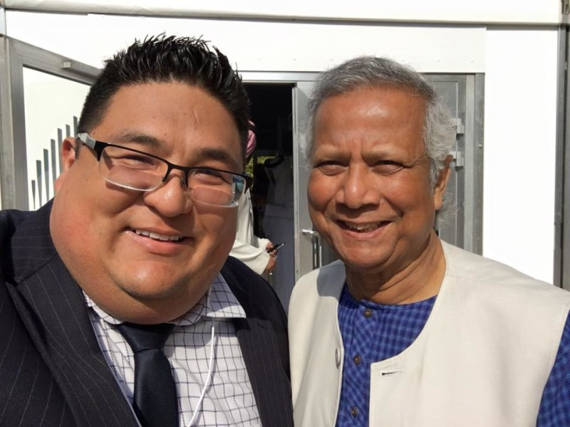 Ruben Cantu meets with Mohammed Yunus as part of the UN World Government Summit in Dubai, United Arab Emirates (Photo Credit: Ruben Cantu)