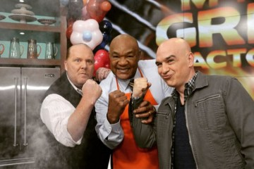 Chef Mario Battali, Fighter George Foreman, and Michael Symon.