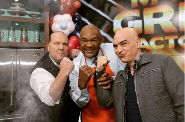 Chef Mario Battali, Fighter George Foreman, and Michael Symon.