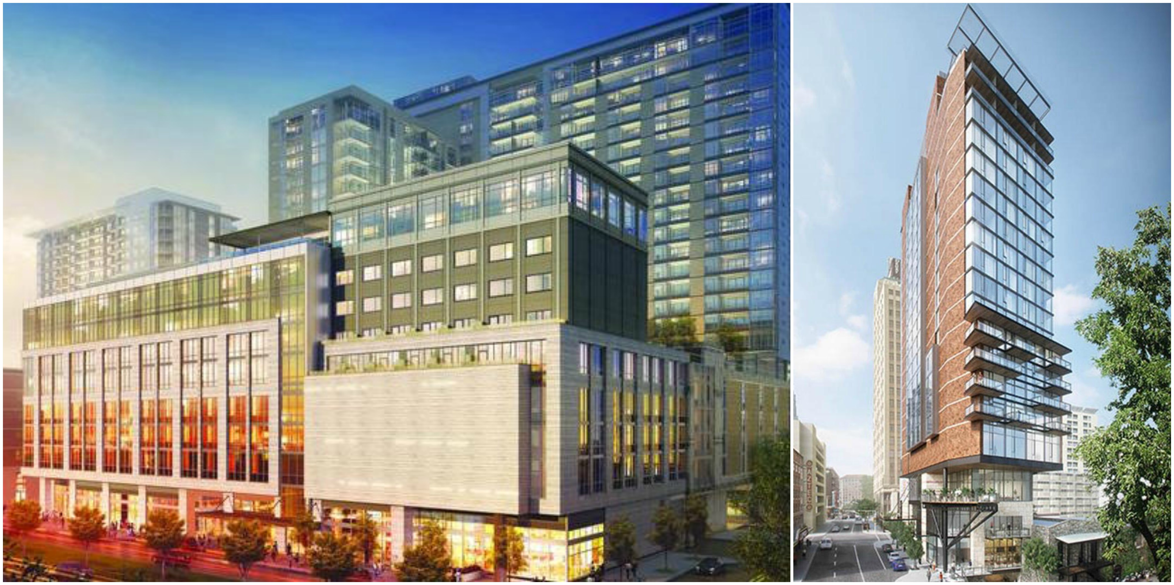 renderings of upcoming canopy by hilton hotels in dallas left and san antonio right photo courtesy of hilton worldwide