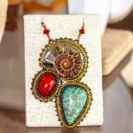 Ammolite, Dyed Coral and Red Stone Close-up