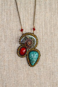 Ammolite, Dyed Coral and Red Stone Necklace