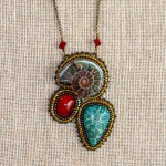 Ammolite, Dyed Coral and Red Stone - Buy Cabochons