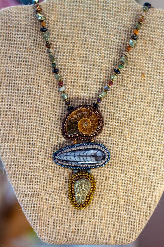 Ammolite, Trilobite, Pyrite Necklace - semi-precious stones