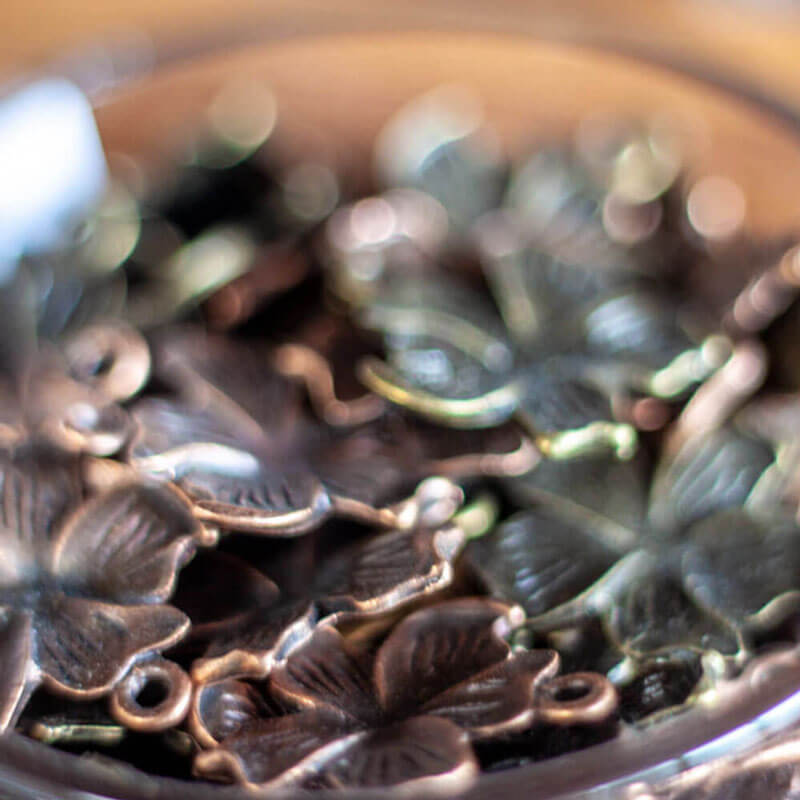 Bronze Flower Charms Close-up