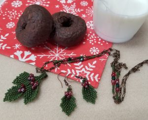 Beaded Holly Necklace & Earrings