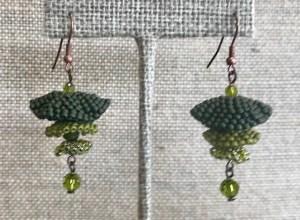 Pagoda Earrings - Olive