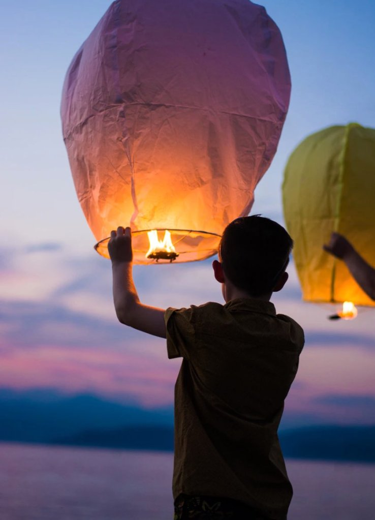 Let go of all the negative thoughts, feelings, or expectations that are not within your control. The traditional Japanese lantern festival is done to commemorate and release the souls of the dead!
