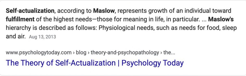 Self-actualization is the fulfillment of the highest needs, according to Maslow.