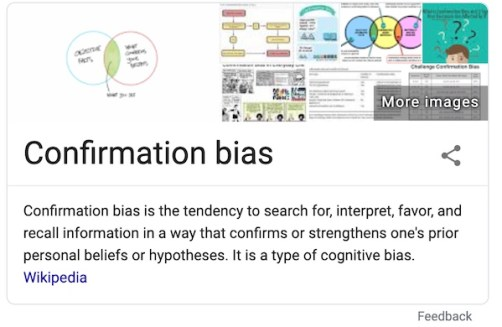 Confirmation Bias as defined Wikipedia, a factor in the dangers of boredom.