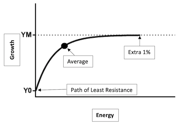 """The path of least resistance (POLR) is at the base of the human hierarchy of needs. Past the """"average"""" is the point of diminishing skills! Those who wish to constantly improve are willing to give whatever it takes to reach that extra 1%!"""